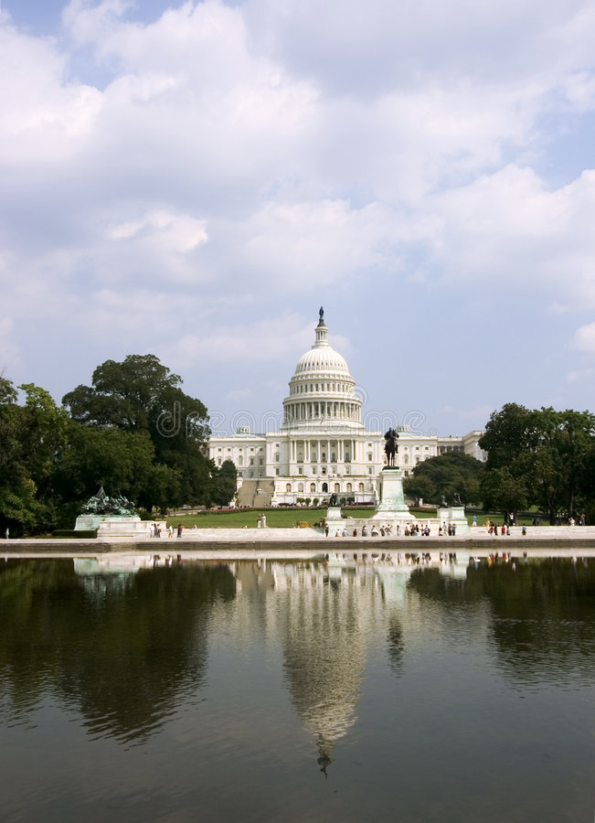 Capitol and its reflection (vertical) royalty free stock photo