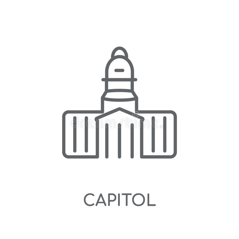Capitol linear icon. Modern outline Capitol logo concept on whit. E background from United States of America collection. Suitable for use on web apps, mobile royalty free illustration
