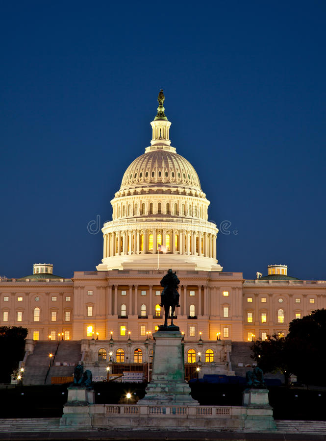 The Capitol at night. US Capitol at night. Washington DC stock photography