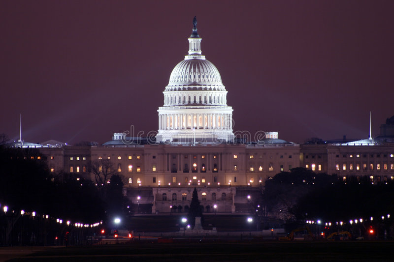 Capitol at night stock image