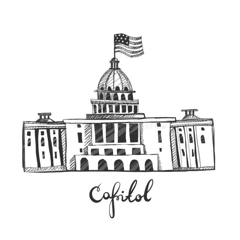 CAPITOL pociągany ręcznie graficzna ilustracja nakreślenie Waszyngton dc ilustracji