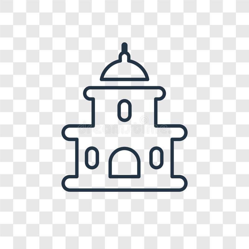 Capitol pojęcia wektorowa liniowa ikona odizolowywająca na przejrzystym backg ilustracja wektor