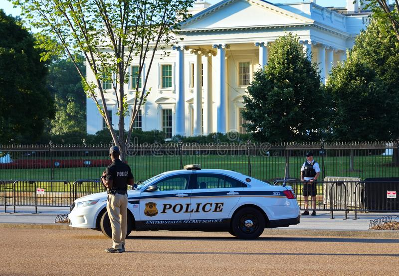 Capitol Police on Patrol at White House stock photography