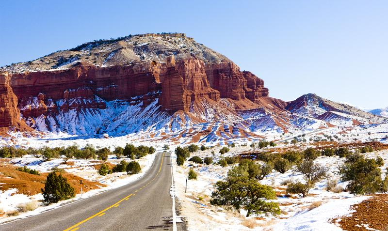 Capitol Reef National Park in winter, Utah, USA. Outdoors, outside, exteriors, america, north, united, states, southwest, southwestern, np, natural stock photos