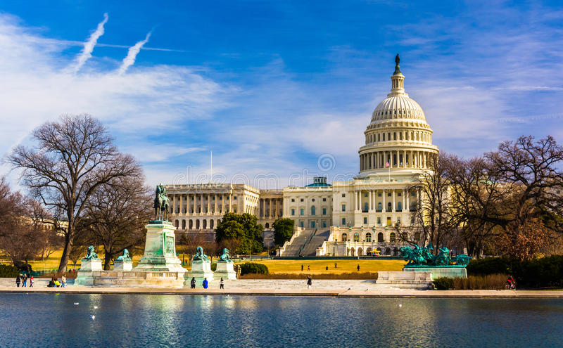 The Capitol and Reflecting Pool in Washington, DC. royalty free stock images