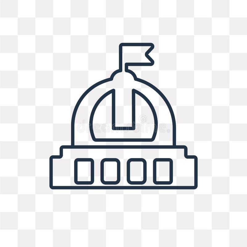 Capitol wektorowa ikona na przejrzystym tle, liniowy C ilustracji