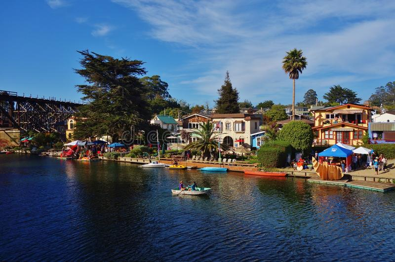 Capitola by the Sea in central California. CAPITOLA, CA - The city of Capitola by the Sea is a beach town located in Santa Cruz county on the coast of Monterey stock photo