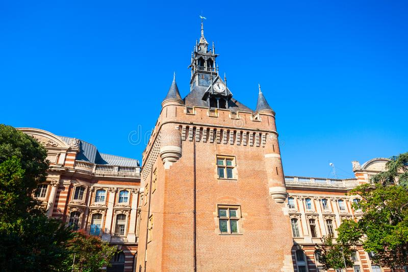 Capitole土牢塔正方形,图卢兹 库存照片