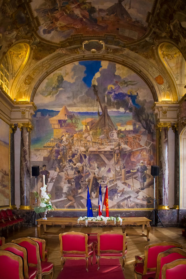 Capitole Binnenlands Salle des Illustres toulouse frankrijk royalty-vrije stock fotografie