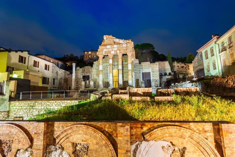 Capitole du forum romain de Brescia images libres de droits