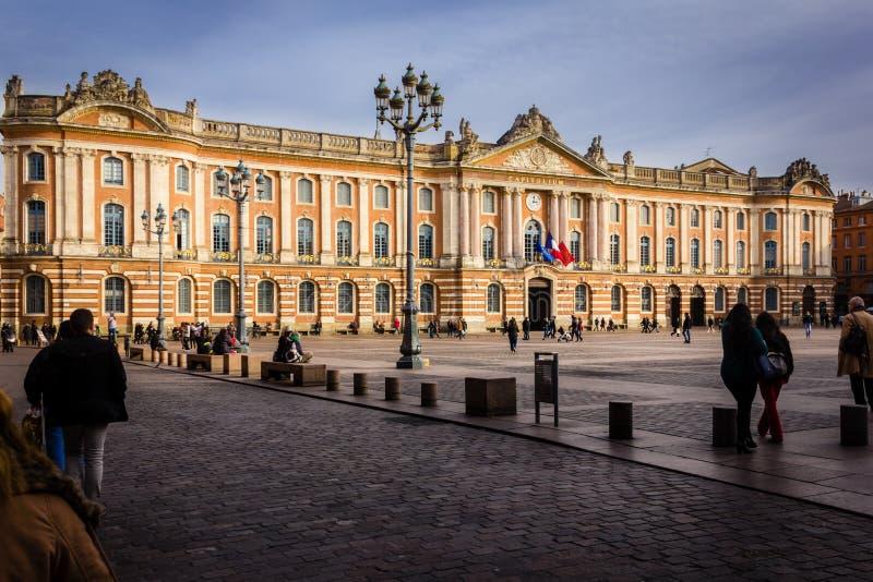 Capitole urząd miasta i kwadrat toulouse Francja obrazy royalty free