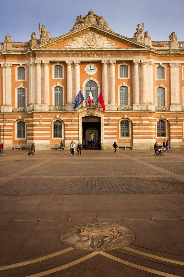 Capitole urząd miasta i kwadrat toulouse Francja fotografia royalty free