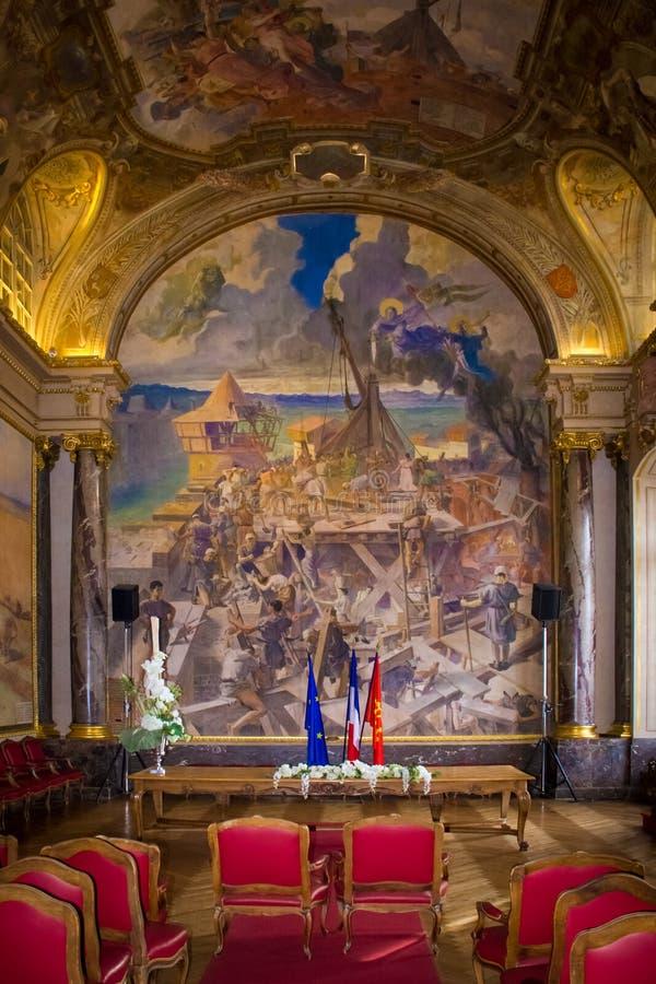 Capitole wnętrze Salle des Illustres toulouse Francja fotografia royalty free