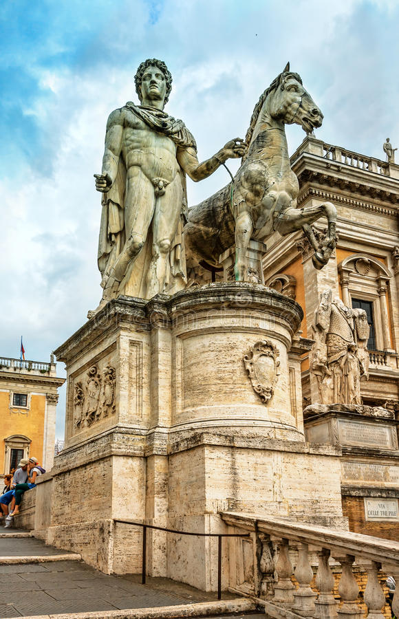 The Capitoline Hill. Statues Castor and Pollux. royalty free stock images