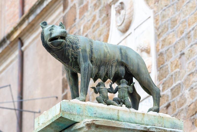 Capitoline varg som är italiensk: Lupa Capitolina - brons skulptur av hon-vargen sjuksköterskor Romulus och Remus, den Capitoline arkivfoton
