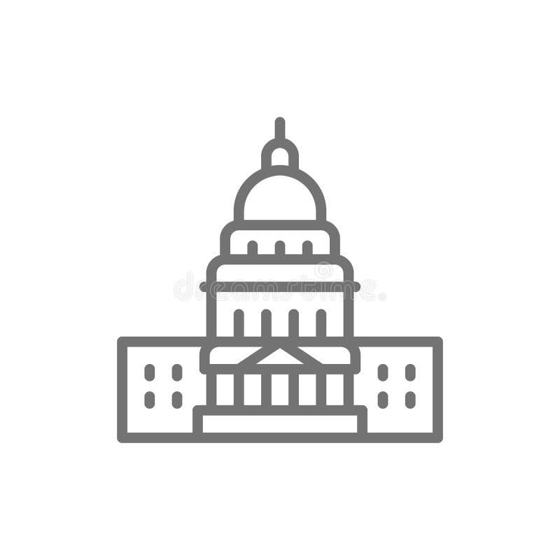 Capitolio de Estados Unidos, línea de fachadas americana famosa icono libre illustration