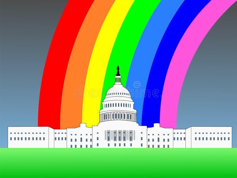 Capitolio de los E.E.U.U. con el arco iris ilustración del vector