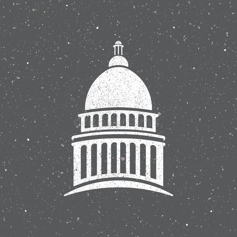 Capitolio de los E.E.U.U. en el ejemplo de la noche stock de ilustración