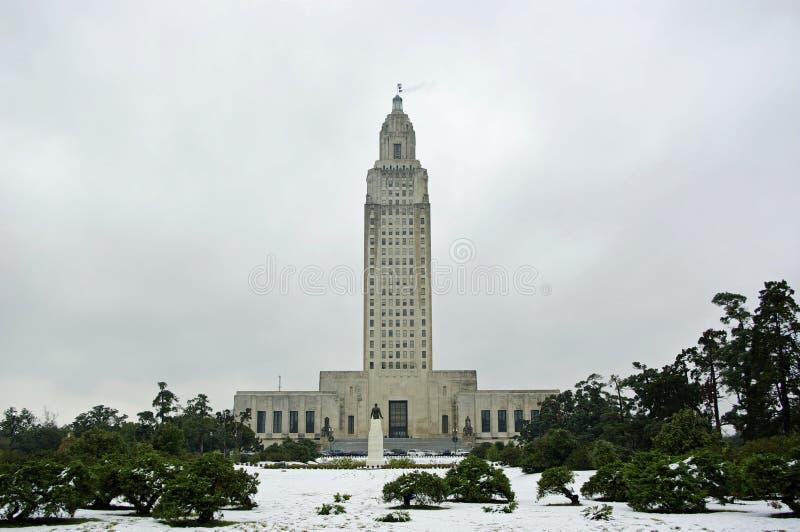 Capitolio de Luisiana en nieve foto de archivo libre de regalías