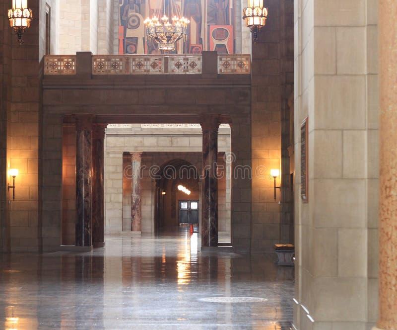 Capitolio del estado de Nebraska que construye los detalles interiores imagenes de archivo