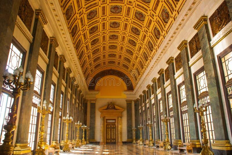 Capitolio Nacional, EL Capitolio Der Innenraum des Gebäudes mit Lampebeleuchtung, Licht kommt von enormem Windows havana kuba lizenzfreie stockfotografie