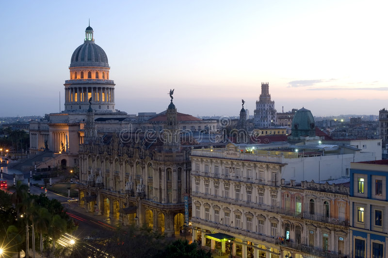 Capitolio par nuit - La Havane, Cuba images libres de droits