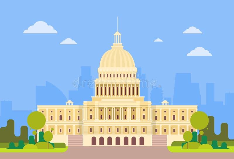 Capitolio que construye la casa Washington del senado de los Estados Unidos de América stock de ilustración