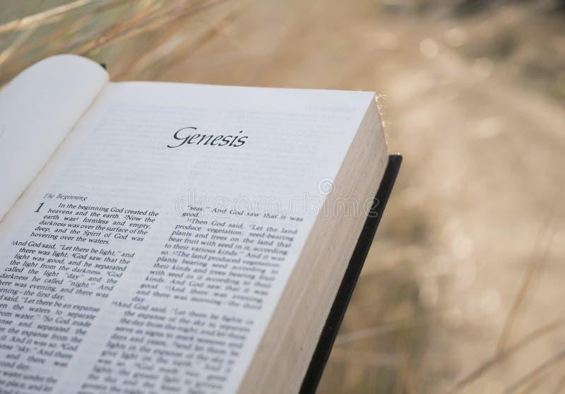 Capitolo Genesis Holy Bible del testo fotografie stock libere da diritti