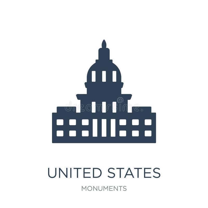 capitolpictogram van Verenigde Staten in in ontwerpstijl capitolpictogram van Verenigde Staten op witte achtergrond wordt geïsole vector illustratie