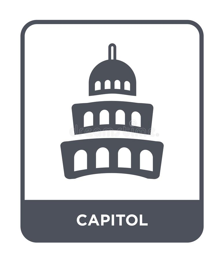 capitolsymbol i moderiktig designstil Kapitoliumsymbol som isoleras på vit bakgrund enkelt och modernt plant symbol för capitolve stock illustrationer