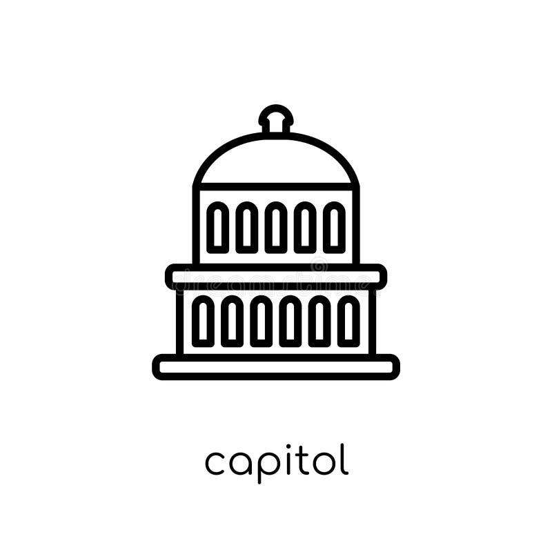 Capitoolpictogram In modern vlak lineair vectorcapitoolpictogram op w royalty-vrije illustratie