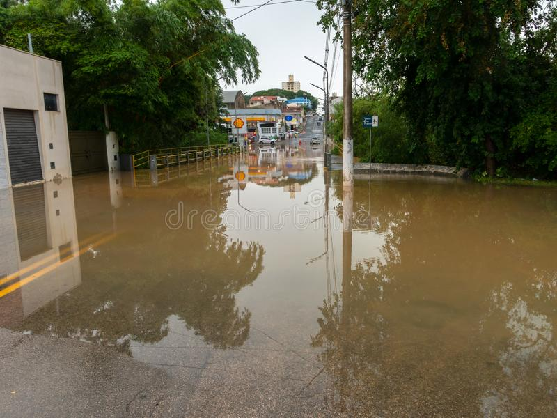 Capivari river overflow - flooded streets - Sao Paulo - Brazil stock photography