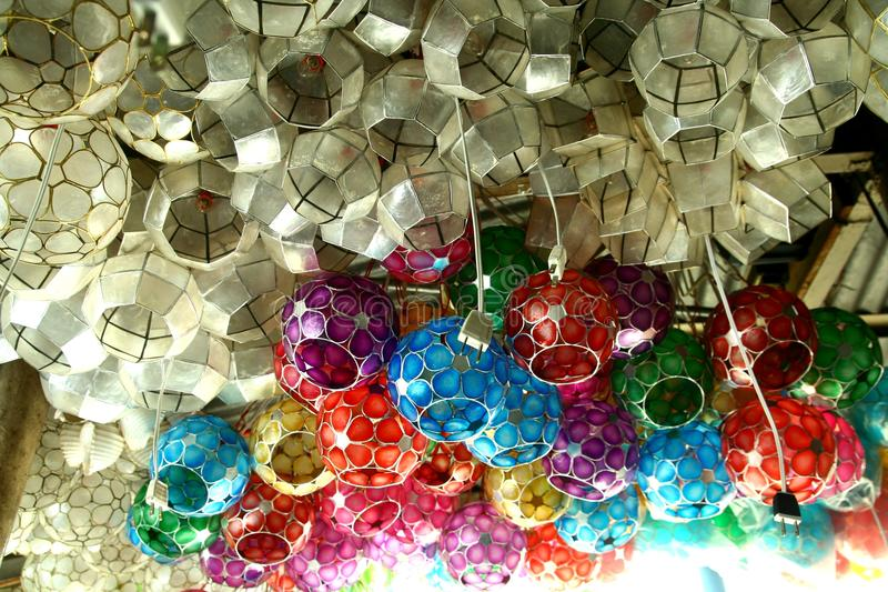Capiz Shell Lamps Sold At A Store In The Philippines