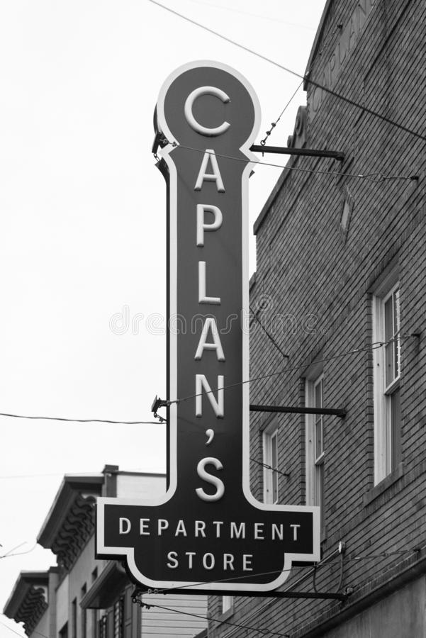 Caplan`s Department Store sign in Ellicott City, Maryland.  royalty free stock photography