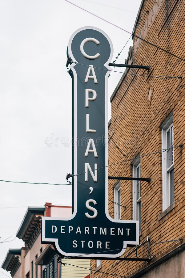 Caplan`s Department Store sign in Ellicott City, Maryland.  stock photography