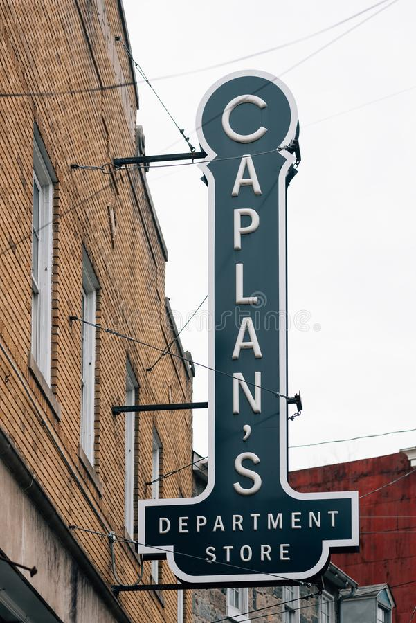 Caplan`s Department Store sign in Ellicott City, Maryland.  stock image
