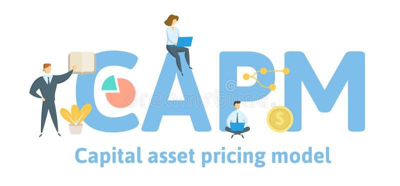 CAPM,资本价格模型 与主题词、信件和象的概念 平的传染媒介例证 查出在白色 向量例证