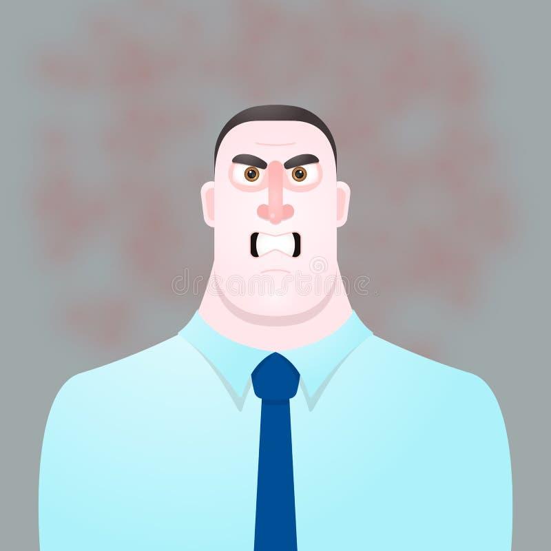 Capo arrabbiato dell'uomo del carattere divertente Illustrazione di vettore royalty illustrazione gratis