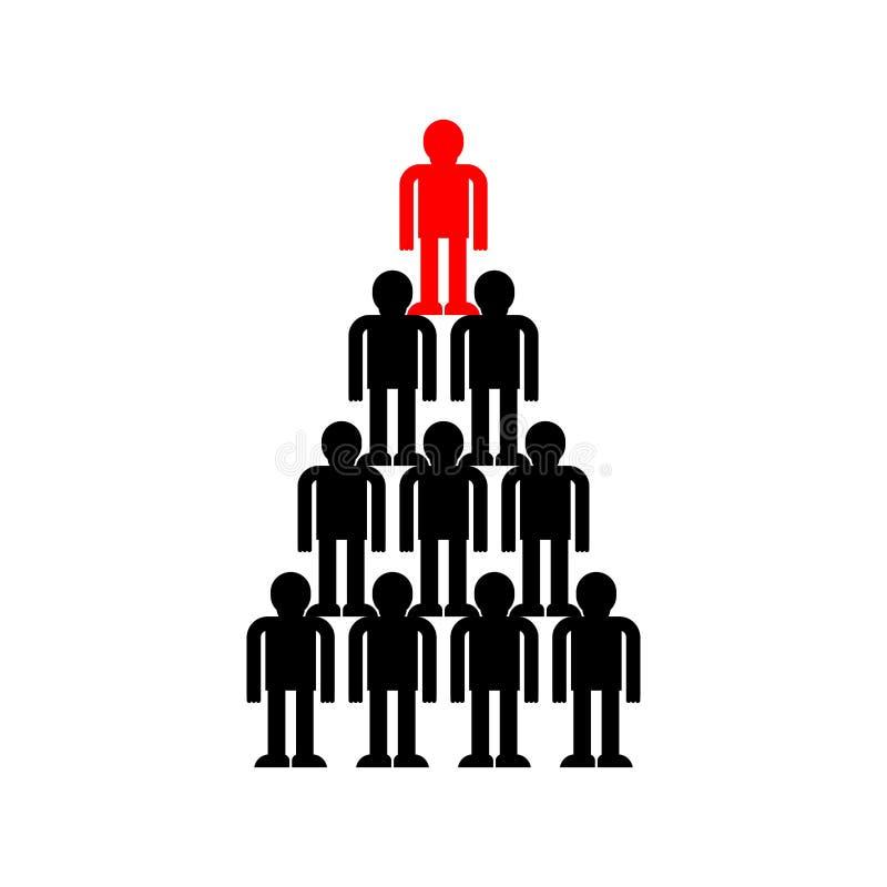 Capo della struttura di Pyramid Company Affare del sistema di subordinazione illustrazione vettoriale
