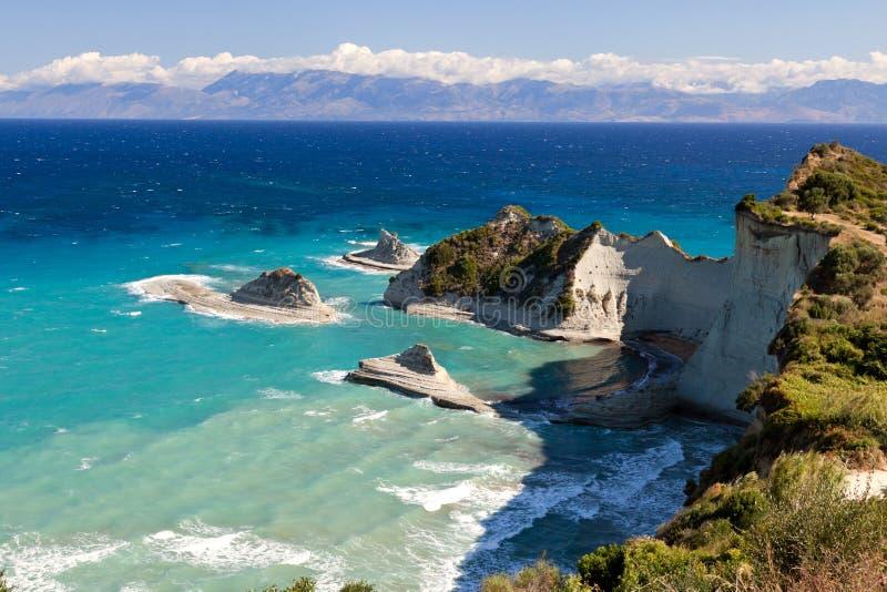 Capo Drastis, isola di Corfù, Grecia immagine stock libera da diritti