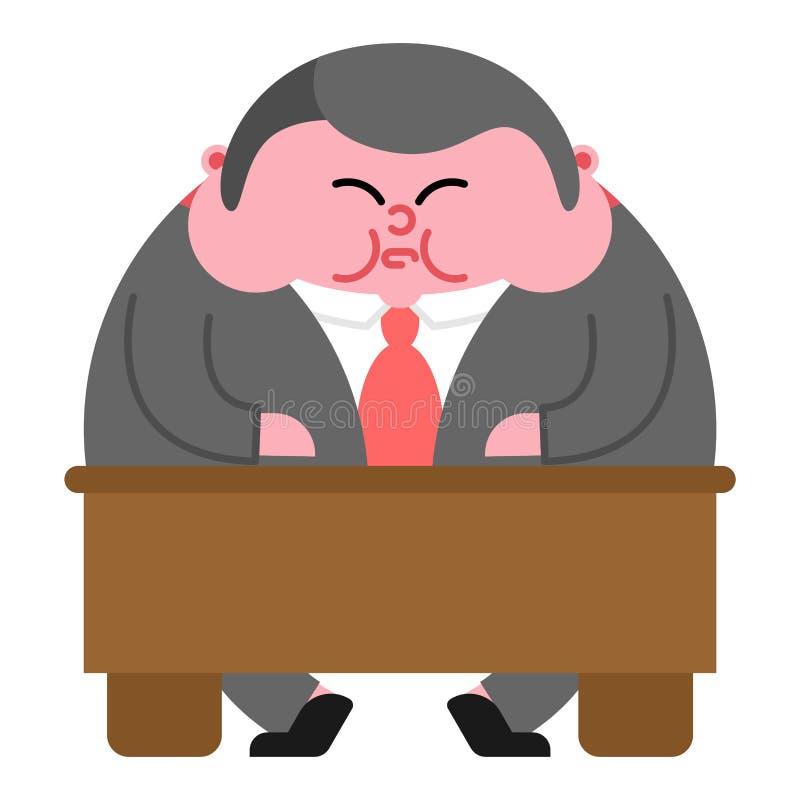 Capo e tavola grassi Direttore spesso Illustr di Vector del capo dell'ufficio royalty illustrazione gratis