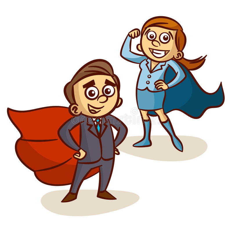 Capo eccellente Capo del supereroe di And Businesswoman With dell'uomo d'affari royalty illustrazione gratis