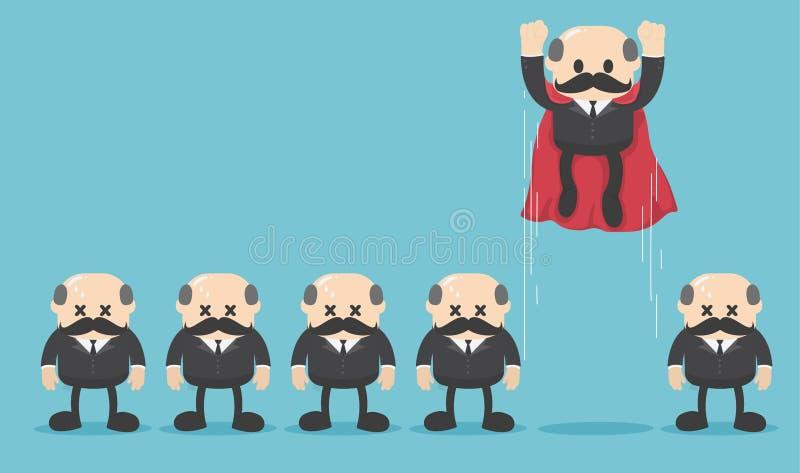 Capo eccellente dell'uomo d'affari davanti alla sua gente del gruppo royalty illustrazione gratis