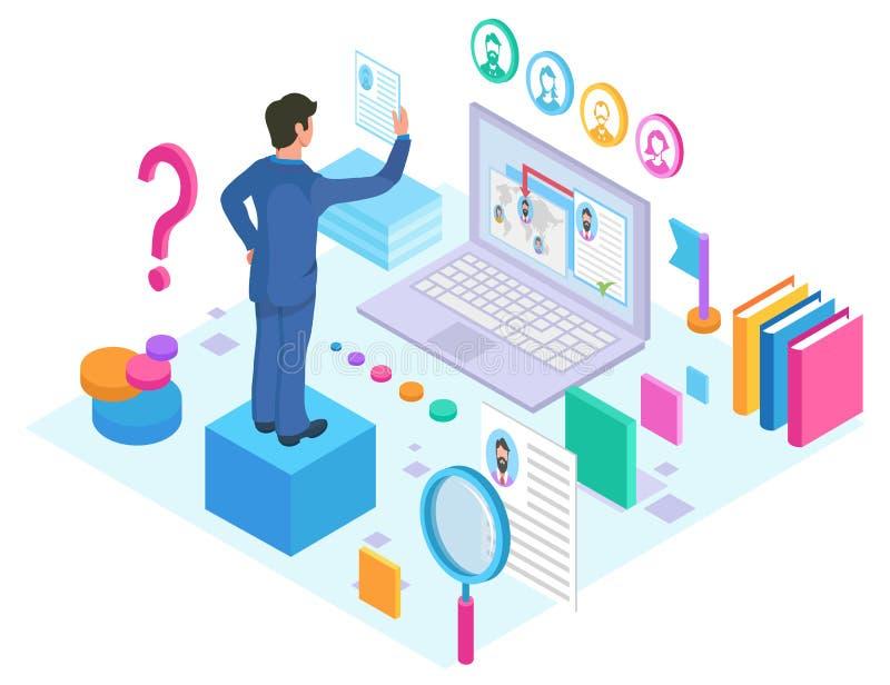 Capo ed occupazione con la ricerca online di Internet illustrazione vettoriale
