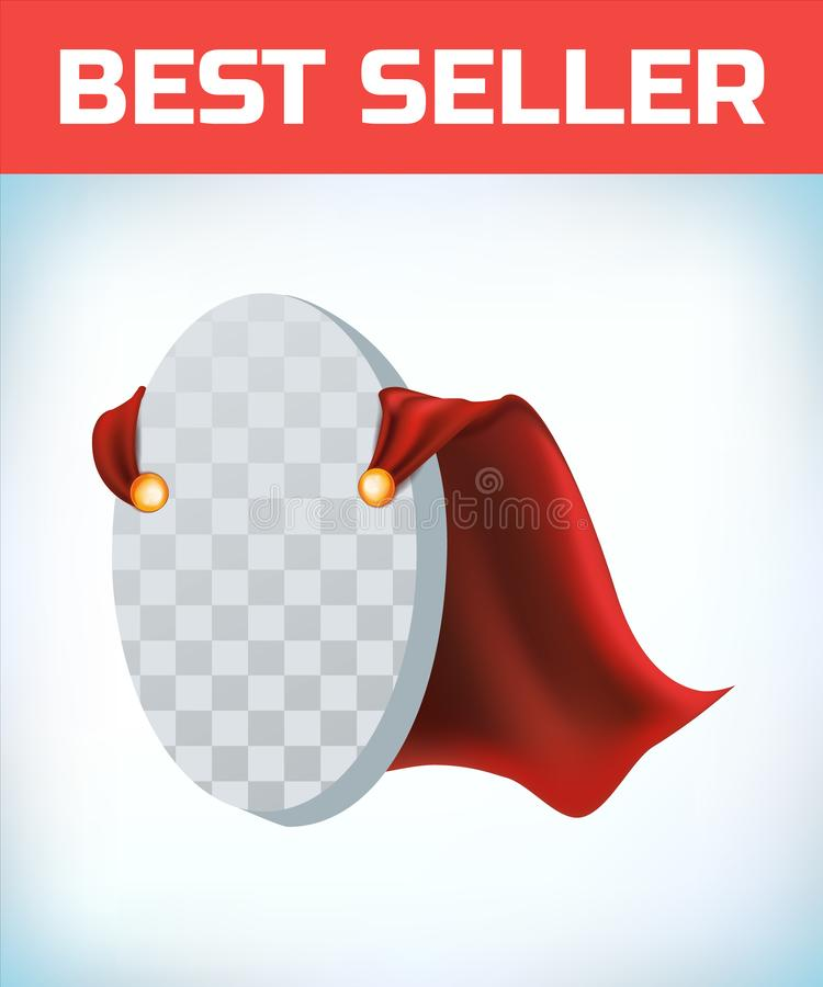 Capo rosso Capo dell'eroe eccellente Mantello eccellente rosso Logo dell'eroe del carattere Capo del responsabile Concetto di dir illustrazione di stock