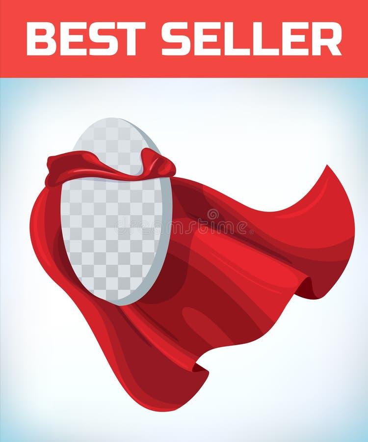 Capo rosso Capo dell'eroe eccellente Mantello eccellente rosso Logo dell'eroe del carattere Capo del responsabile Concetto di dir royalty illustrazione gratis