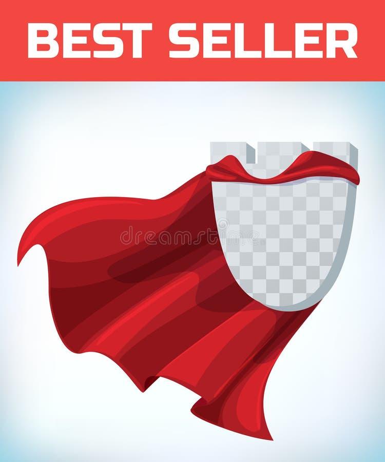 Capo rosso Capo dell'eroe eccellente Mantello eccellente rosso Logo dell'eroe del carattere Capo del responsabile Concetto di dir illustrazione vettoriale
