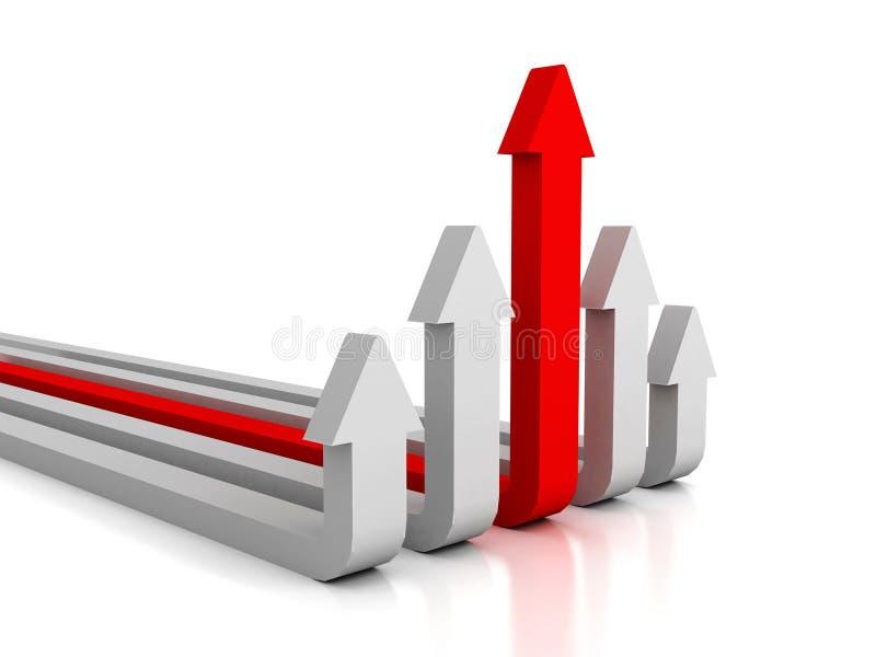 Capo rosso di successo della freccia del gruppo bianco del gruppo di concetto illustrazione di stock
