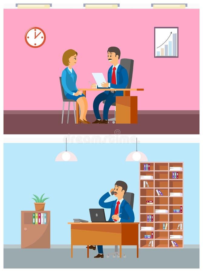 Capo in ufficio che intervista nuovo lavoro della lavoratrice illustrazione vettoriale