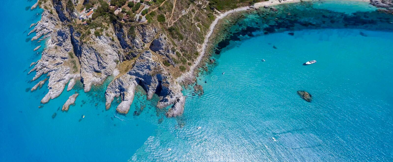 Capo Vaticano, Calabria - Italy. Amazing panoramic overhead aerial view of coastline on a sunny day.  royalty free stock photo